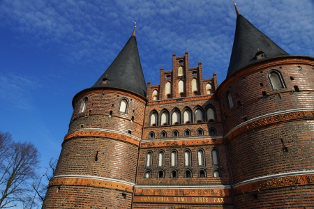 Town s Landmark Luebeck - The town s landmark Holstentor of L&uuml,beck in North Germany   Stock Photo