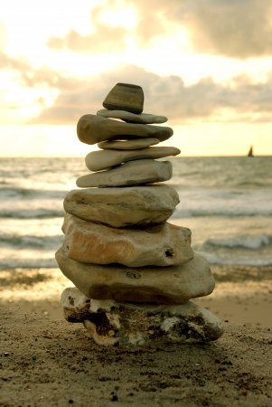 Balance - A Stone Tower built on the beach