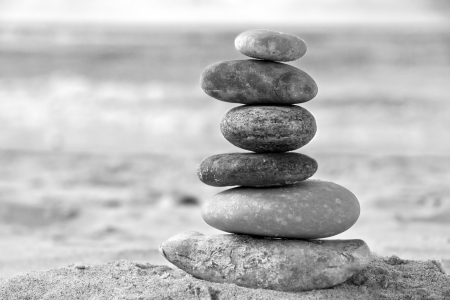 adroitness: Balance in black and white - A tower of stacked stones