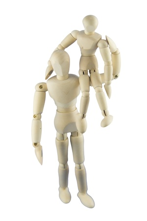 humanly: A big dummy is carrying a small dummy on its shoulder