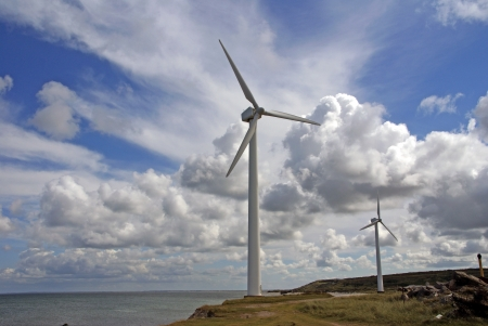 Wind Energy - A field with wind turbines to produce electricity at the north sea coast