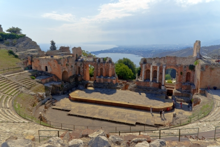 greco: Teatro Greco Taormina - The Amphitheatre Greco in Taormina on the Italian island Sicily at the east coast Stock Photo