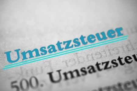 sales tax -  Umsatzsteuer  is the German word for sales tax  Stock Photo