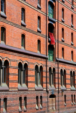 Warehouse Hamburg - The front of a warehouse in the historic warehouse district in Hamburg   photo