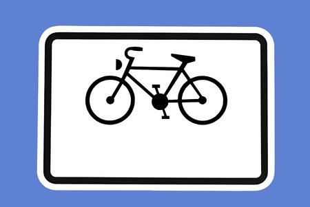 optionnel: Signe de v?los - A bicyclette sur un panneau de signalisation en option Banque d'images