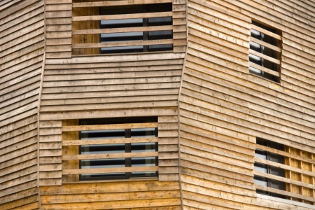 wooden building front Stock Photo