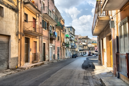 mountainy: Sicilian Province - A residential street of the old town of Noto   Sicily  Stock Photo