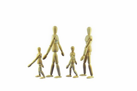 systematic: Family II  - A wooden doll family is walking in single file