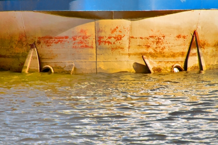 prow: Prow - The prow of a tanker ship with anchor in water