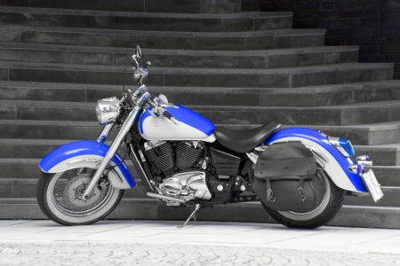 Motorbike in blue - A Motorbike in blue with black and white background   Stock Photo