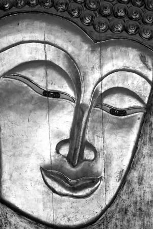 deconstruct: Buddha - A wooden golden Buddha face