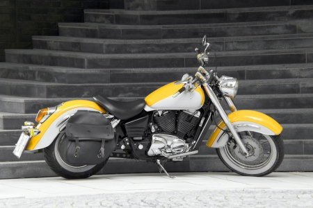 Motorbike in yellow Stock Photo