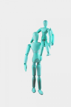 father in law: Two dummies - A big dummy is carrying a small dummy on its shoulder