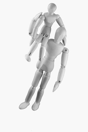 humanly: Two dummies - A big dummy is carrying a small dummy on its shoulder