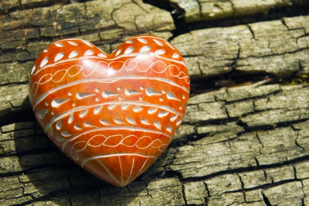 heartiness: Red Heart - A red heart on tree bark