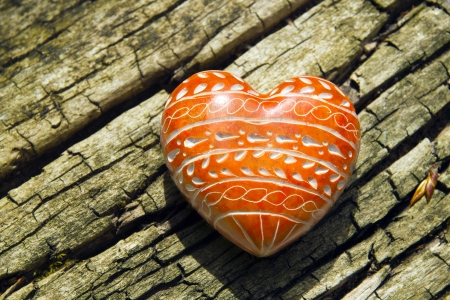 cordiality: Red Heart - A red heart on tree bark