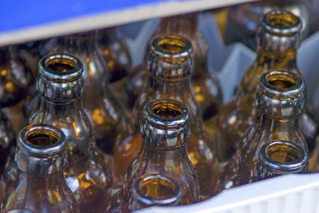 Empty beer bottles - A case with empty beer bottles