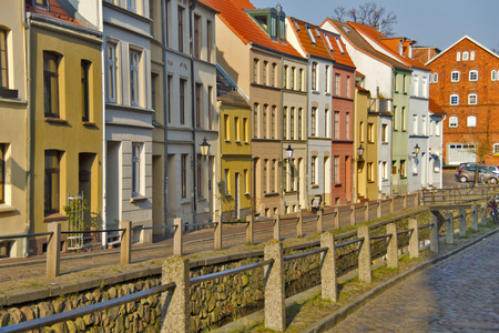 Wismar - A street in the Mecklenburg Baltic Sea city of Wismar in North Germany. Stock Photo