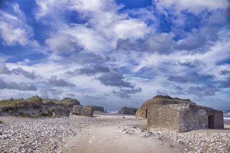 Bunker on a beach on the North Sea coast