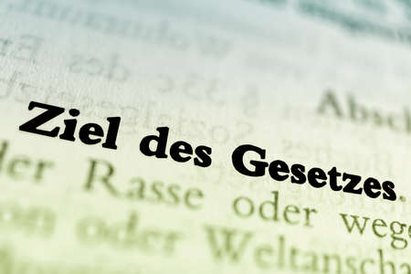 The aim of the law. German text - goal of the law.