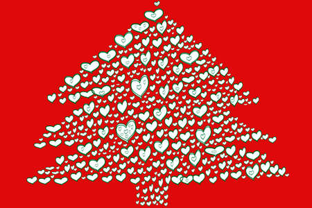 Christmas tree made of hearts with red background 免版税图像