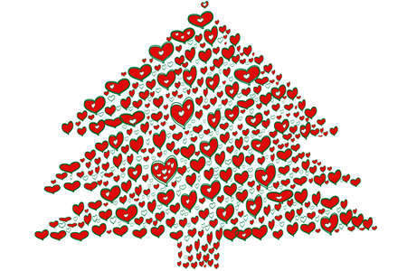 Christmas tree made of hearts with white background