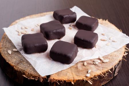 chocolaty: Chocolate handmade candies, horizontal, close up