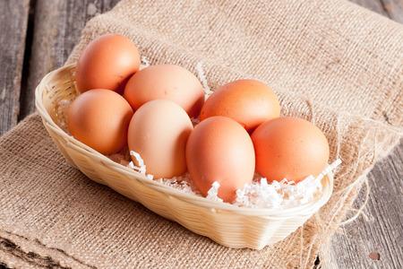 sackcloth: Eggs, horizontal, close up