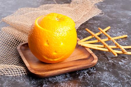 rise pudding in orange. Halloween. close up, horizontal