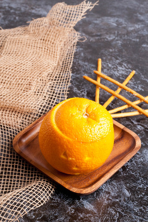 rise pudding in orange. Halloween. close up, vertical Stock Photo
