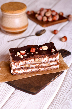 chocolate banana cake with nuts, close up, vertical Stock Photo