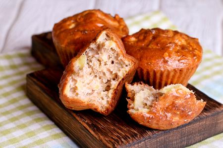 Healthy vegan oat muffins, apple and banana cakes, close up, horizontal Stock Photo