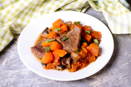 Delicious modern meat stew with vegetables, close up, horizontal