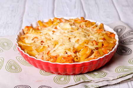 colorfull: Delicious mac and cheese made with a smooth, creamy sauce, close up, horizontal Stock Photo