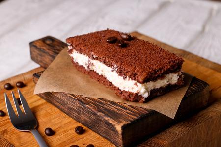 Chocolate mousse cake, horizontal, close up Stock Photo