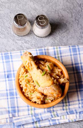 Chicken biryaniHyderabadi Biriyani fried rice and chilli chicken curry, Kerala India.