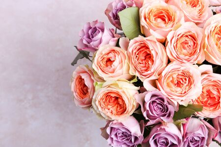 A bouquet of hybrid tea roses and floribunda on a white background.