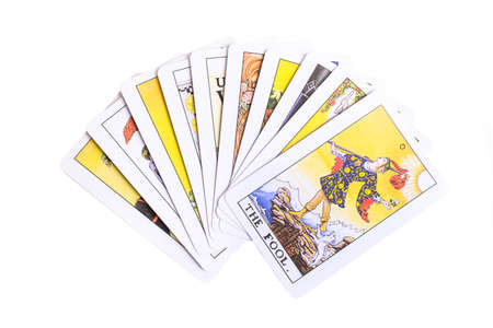 A deck of tarot cards on isolated white background.