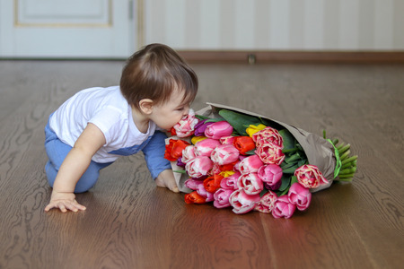 Funny cute little baby smell flowers - bouquet of tulips Stock Photo