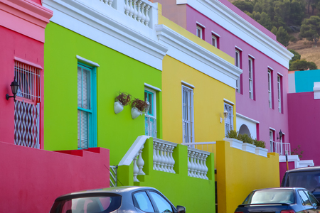 Bright multicolored facades of buildings in Bo-Kaap district of Cape Town, South Africa. Also known as Mayal Quarter