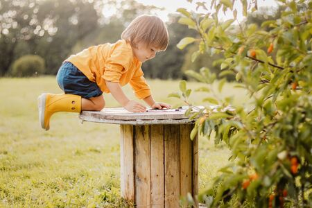 Cute funny curious toddler boy playing in autumn apple garden outdoors climbed on big wooden spindle looking into hole. Summer lifestyle. Inquisitive childhood.