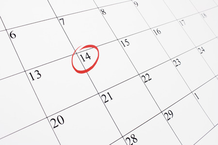 february 14th: February 14th marked out on a calendar with a red ring