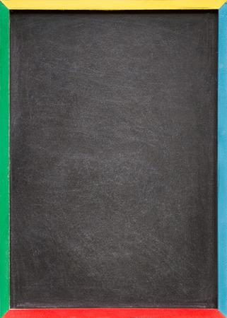 A blank slightly dirty chalkboard  blackboard in a colourful old wooden frame