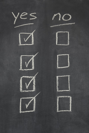 checkboxes: blackboard   chalkboard with yes no written across the top and the yes checkboxes ticked