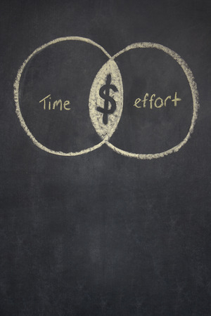 working ethic: two over lapping circles drawn on a chalk board, one representing time, the other effort. Where they overlap is the dollar symbol. Stock Photo