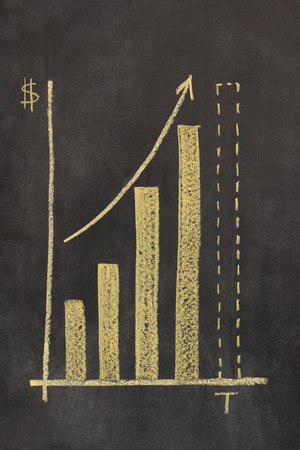 plotting: bar chart drawn on a chalkboard plotting time against money, with an arrow showing upward trend