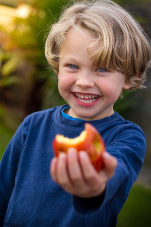 close up of a a cute blonde child wearing a blue shirt  eating  an apple with an out of focus yellow green background