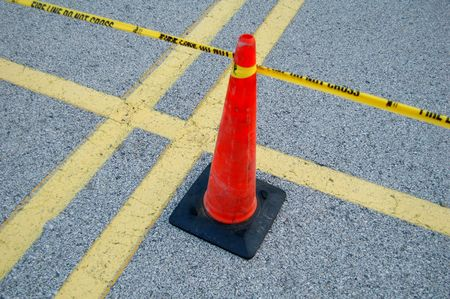 yellow taped fire line with cone - do not cross