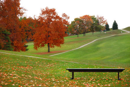 view of golf course on an autumn day photo