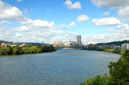 A view from the Hot Metal Bridge walkway of the Birmingham Bridge over the Monongahela River in the city of Pittsburgh